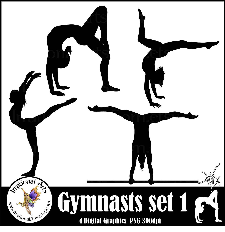 Female Gymnasts Silhouettes 4 Graphics Gymnastics