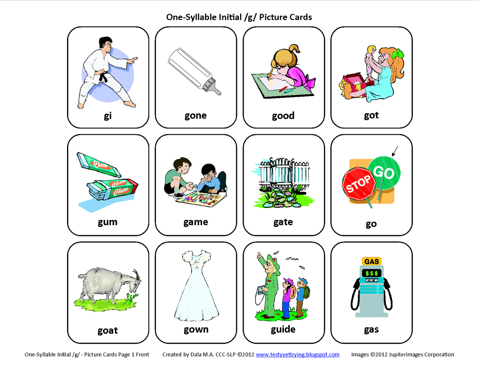 Initial G Free Speech Therapy Articulation Picture Cards