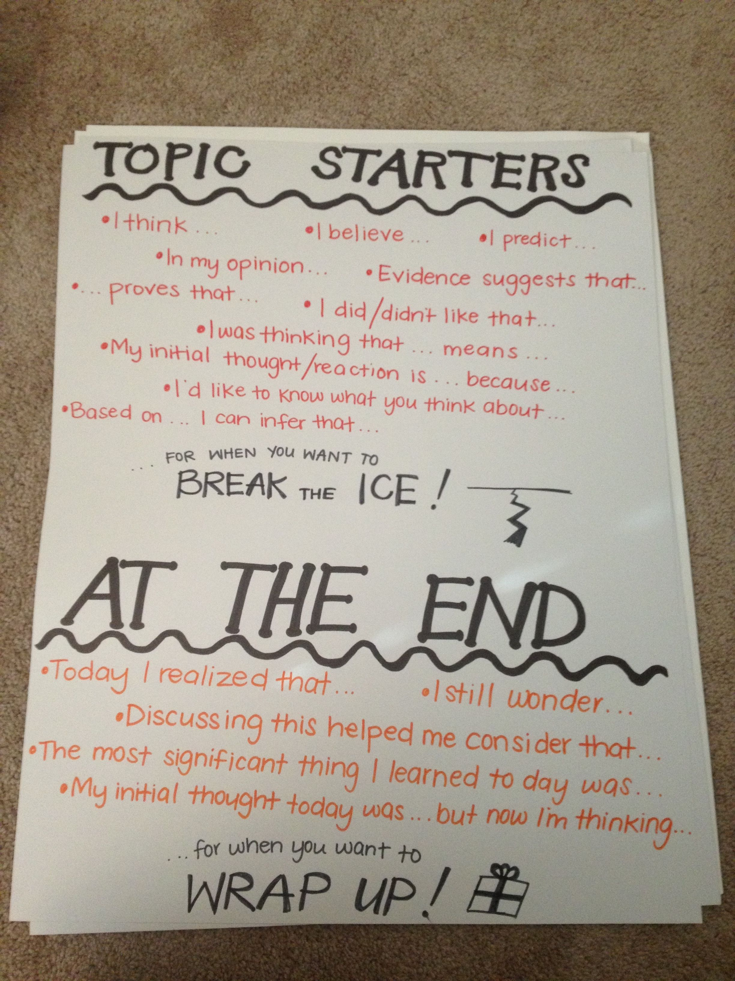 Meaningful Conversation Sentence Stems Topic Starters And Summarizing