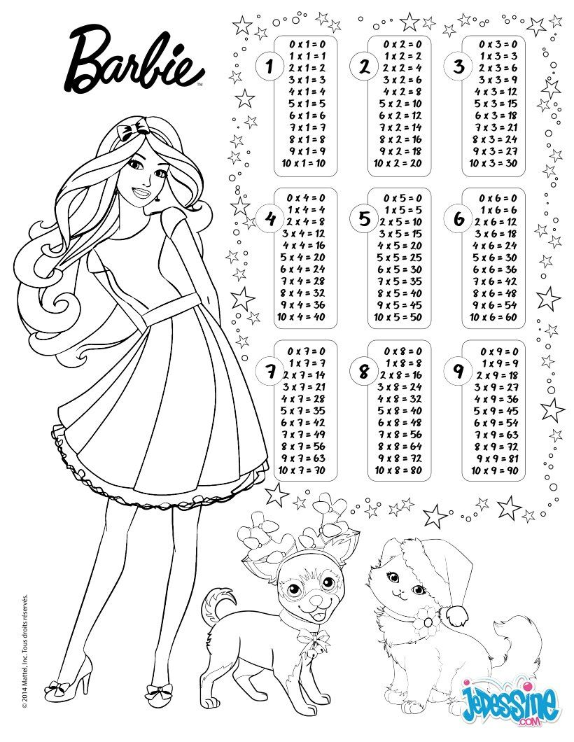 Multiplication Table Barbie Coloring Page Z5z 820×1060