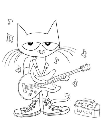 Pete The Cat Rocking In My School Shoes Coloring Page Preschool