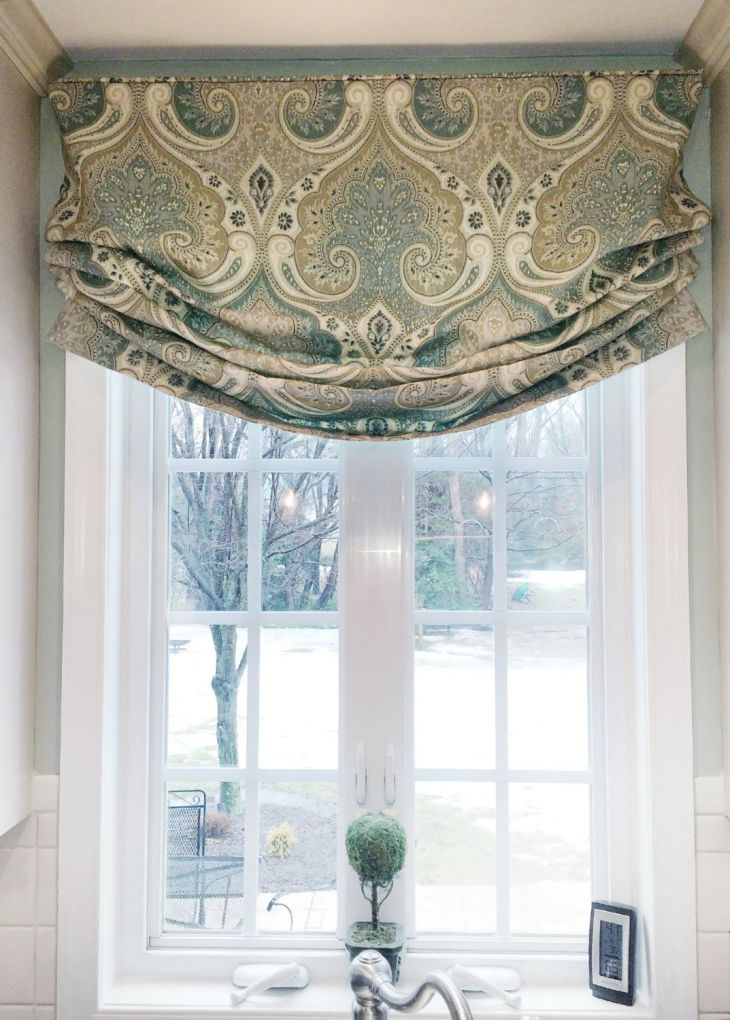 Faux Roman Shade Valance Custom Window Treatment  Relaxed Style