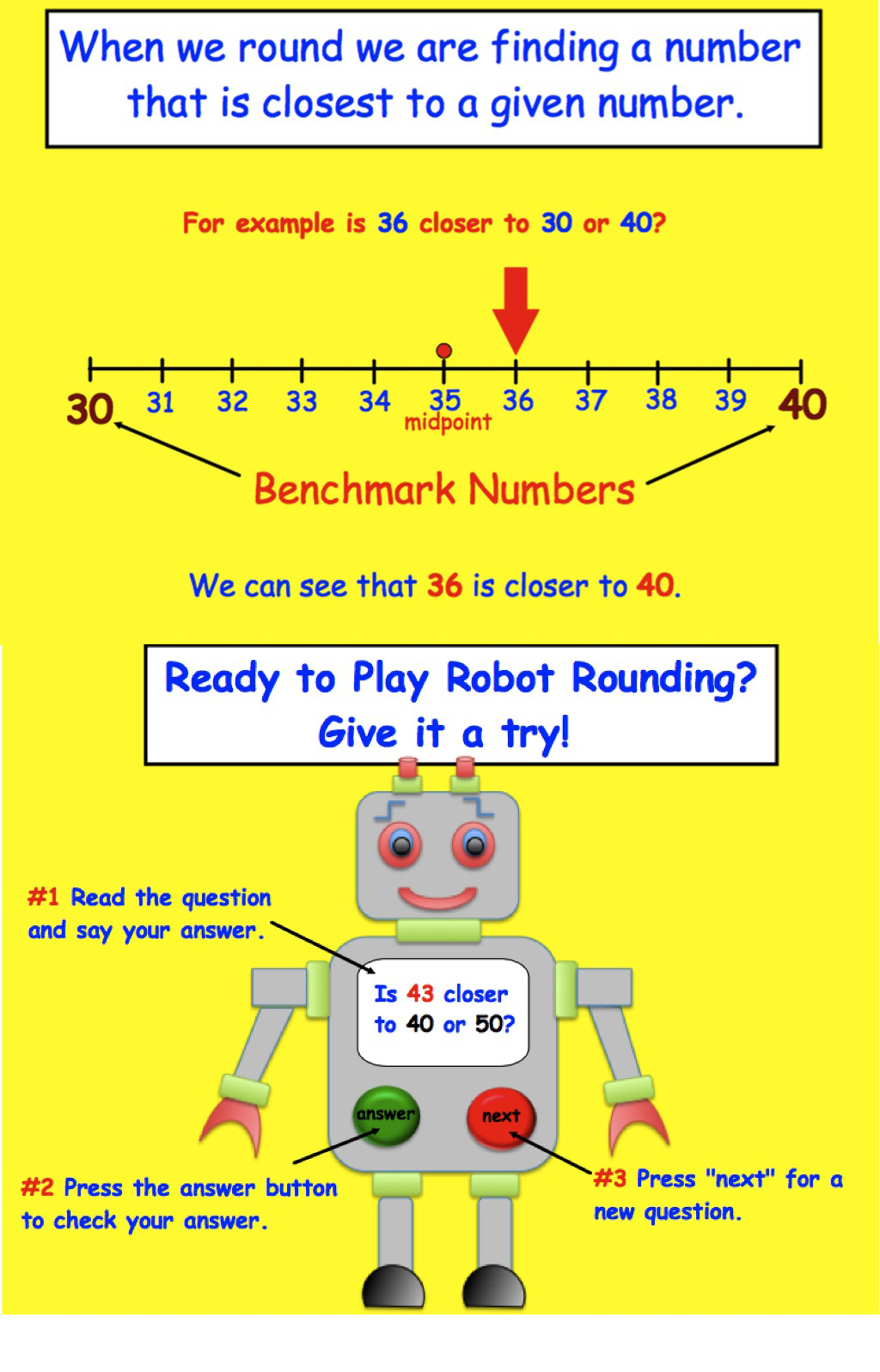 Robot Rounding Game Interactive Smartboard Lesson Gr 3