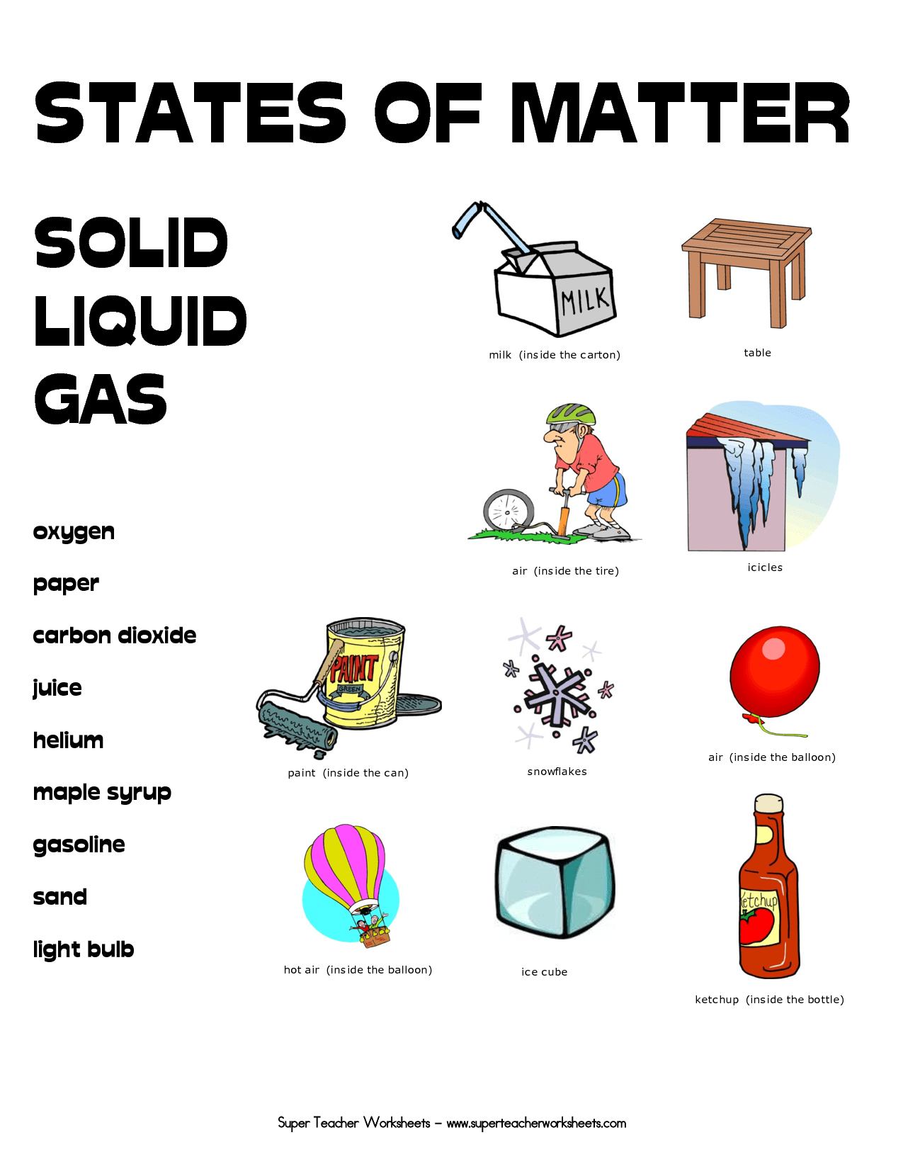States Of Matter Worksheets
