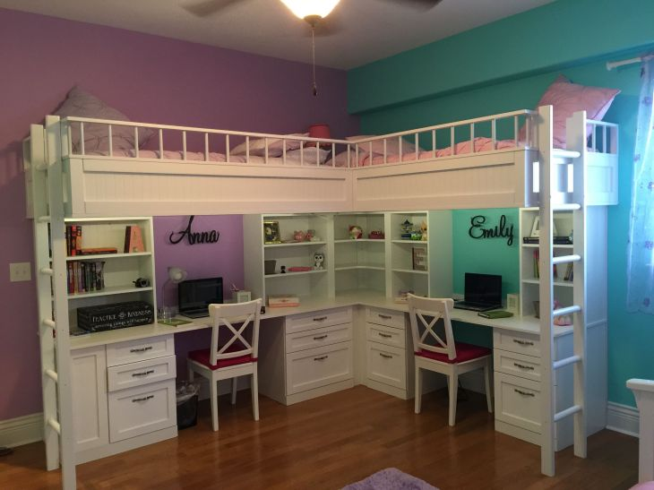 Custom Made Dual Loft Beds With Desks  Home  Pinterest  Bunk bed