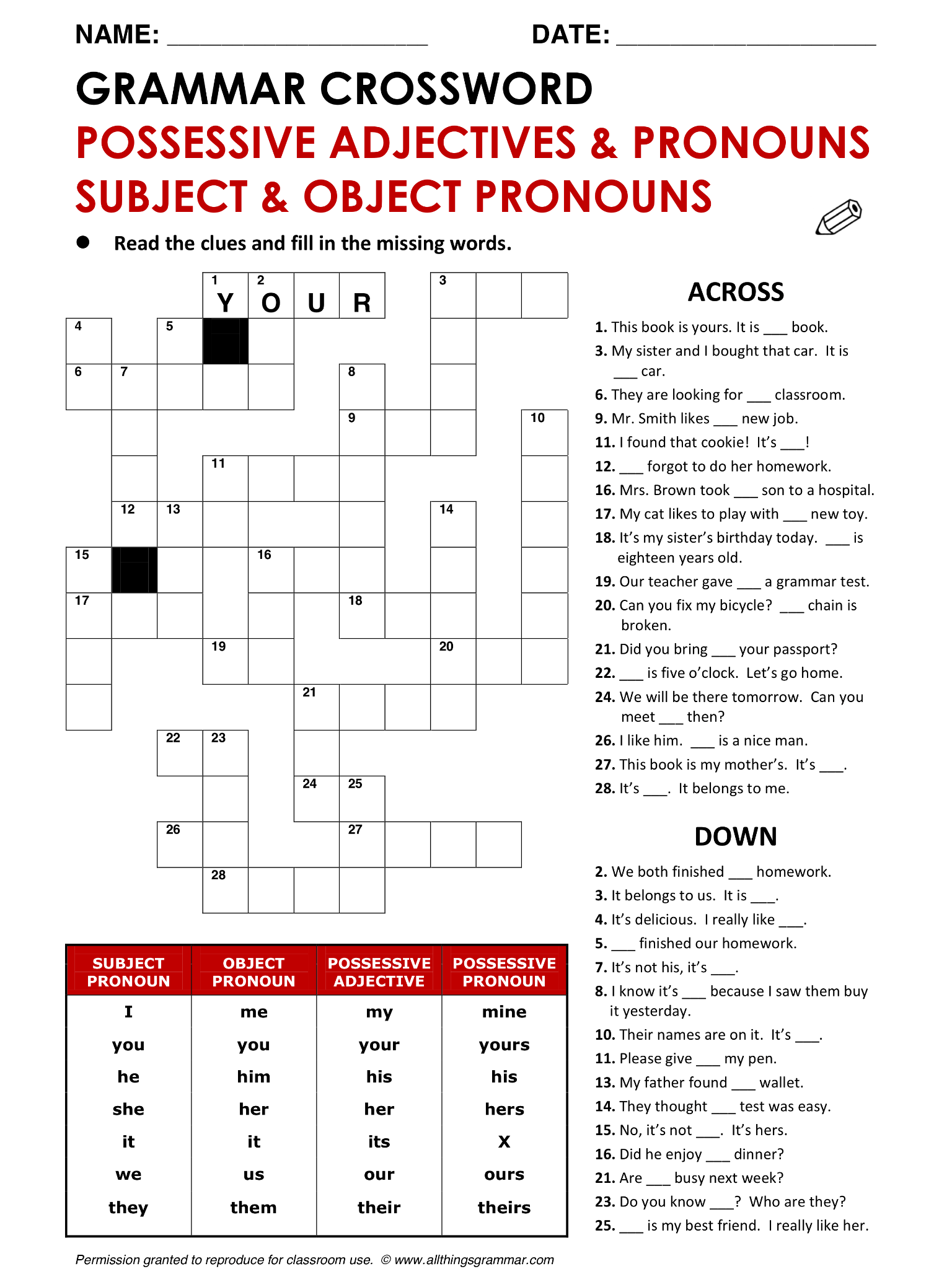 English Grammar Possessive Adjectives Amp Pronouns Subject