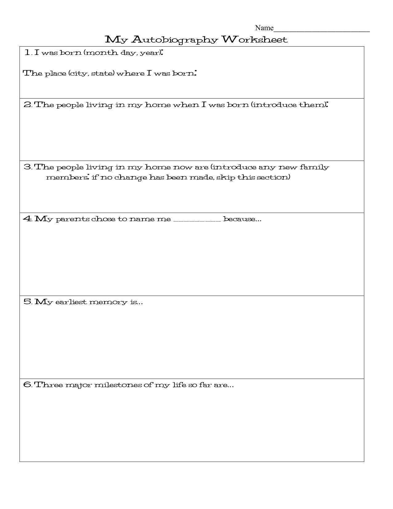 My Autobiography Worksheet