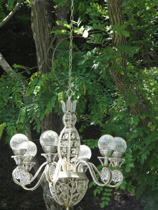 Solar Ed Chandelier In My Garden I Like The Round Rather Than