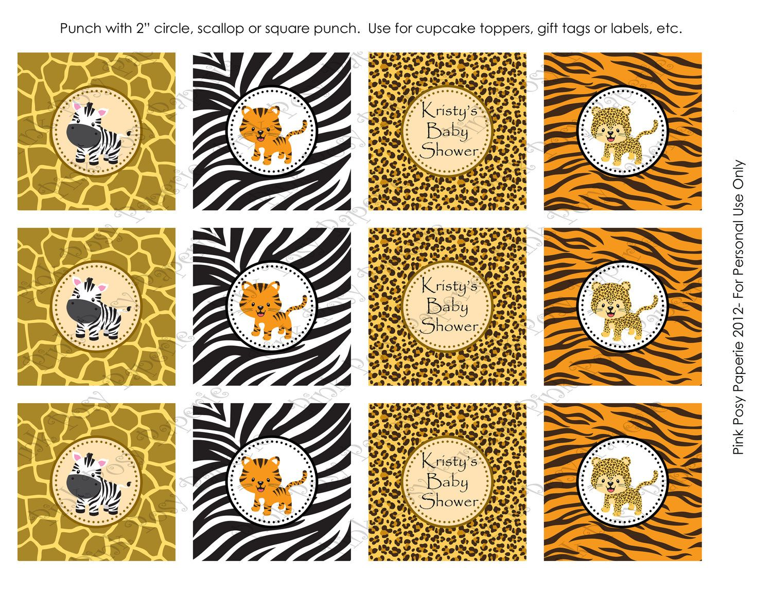 Printable Safari Baby Shower Cupcake Toppers By Pinkposypaperie