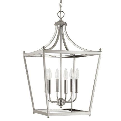Stanton Polished Nickel Six Light Foyer Pendant Lantern Lighting Ceiling