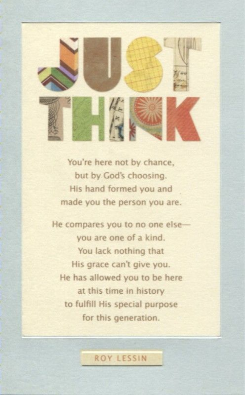 Roy Lessin Poems Just Think Encouragement Card
