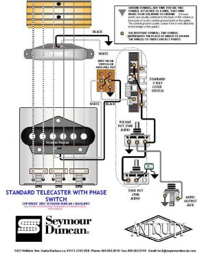 Tele Wiring Diagram with phase switch | Telecaster Build