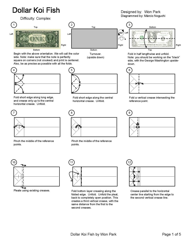 Koi Fish Diagram 1 Of 5 Money Origami Dollar Bill Art