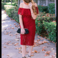 Off the shoulder holiday dress for under winter wedding