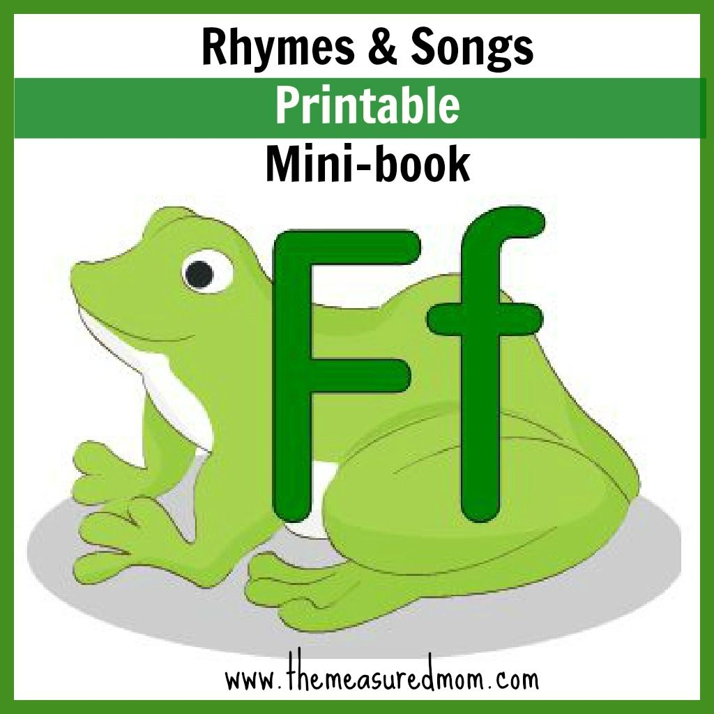 Letter F Minibook Rhymes Amp Songs