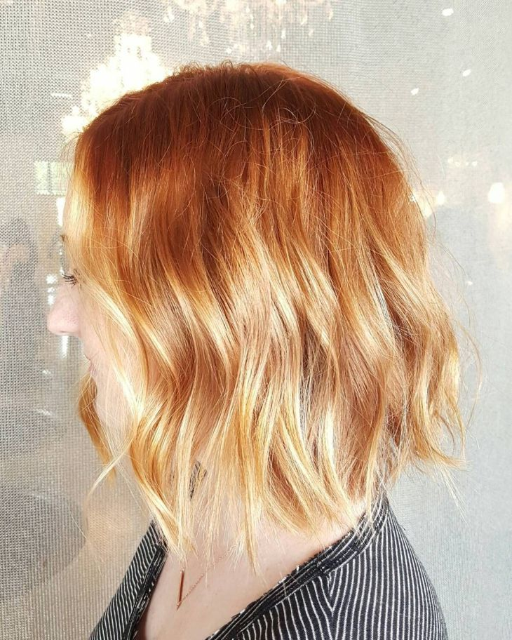 Sparkling Copper Lob Hair Pinterest