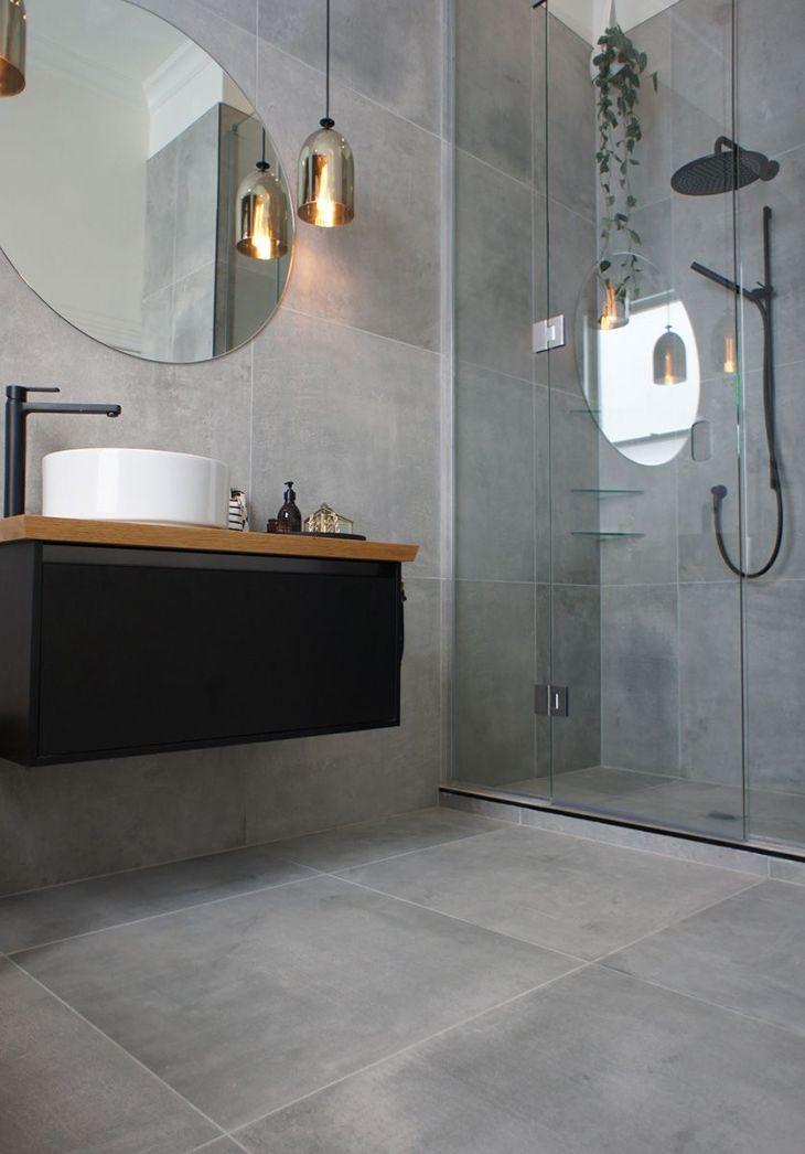 bathroom AN slate grey tiles  Home Renovation  Pinterest
