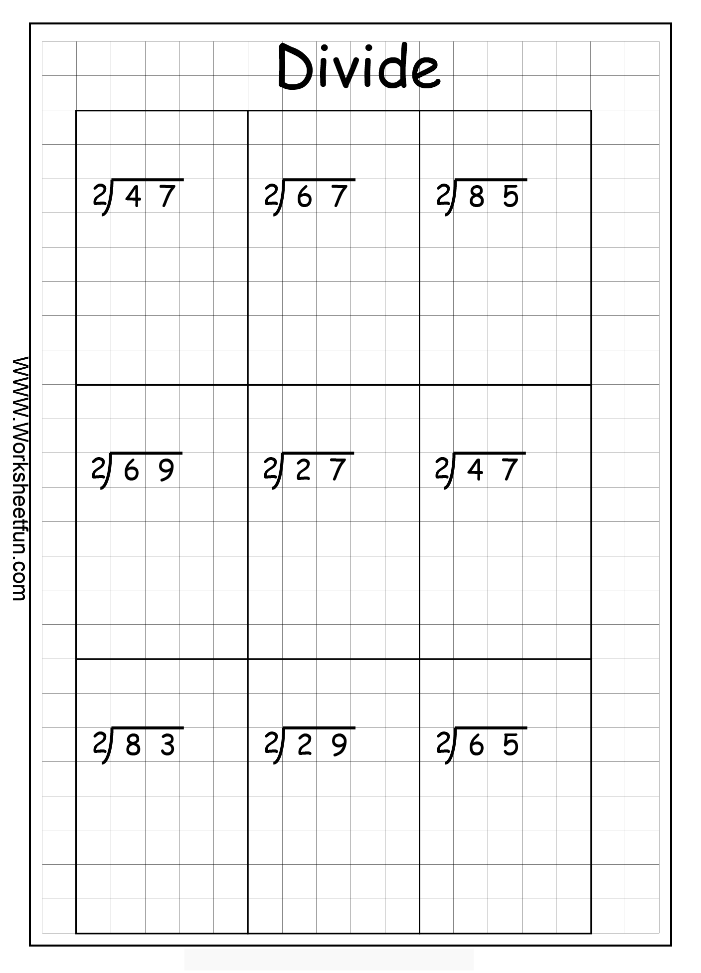 Long Division 2 Digits By 1 Digit With Remainder