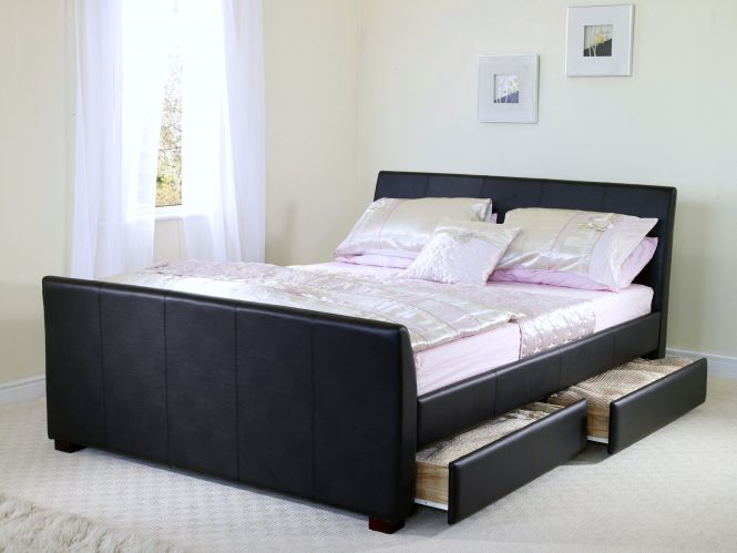 Black Leather Wood Bed Frames With Boxspring 6ft Super King Size Faux Frame 2 Drawers Jpg Cool Modern Beds Pinterest