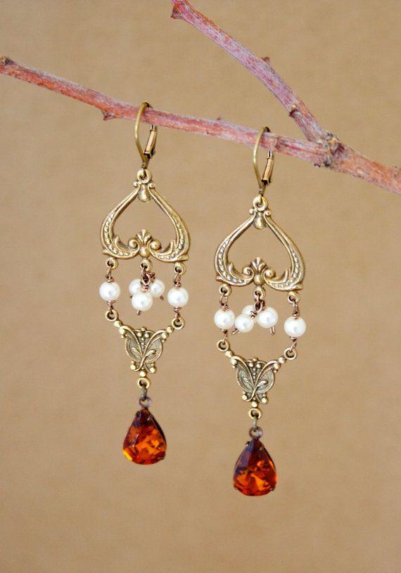 Amber Chandelier Earrings Gypsy Boho By Lavenderfields62 48 00