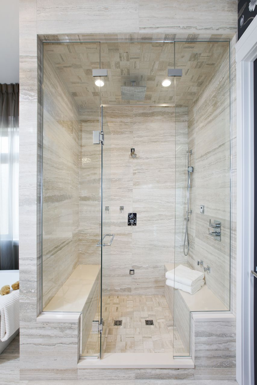 Double bench master steam shower bathroom pinterest