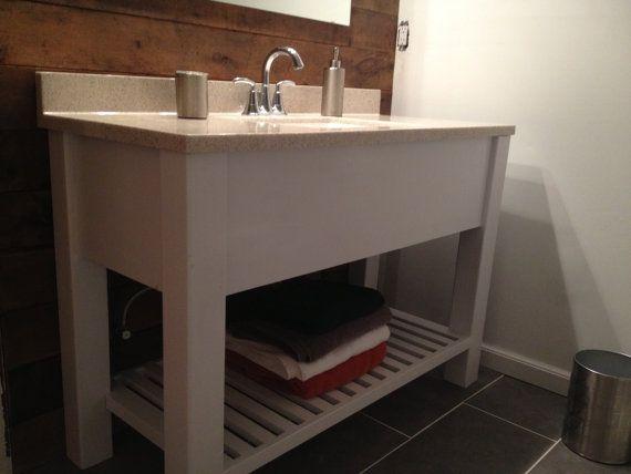 Open Shelf Bath Vanity : Sink Cabinet, Modern, Slatted
