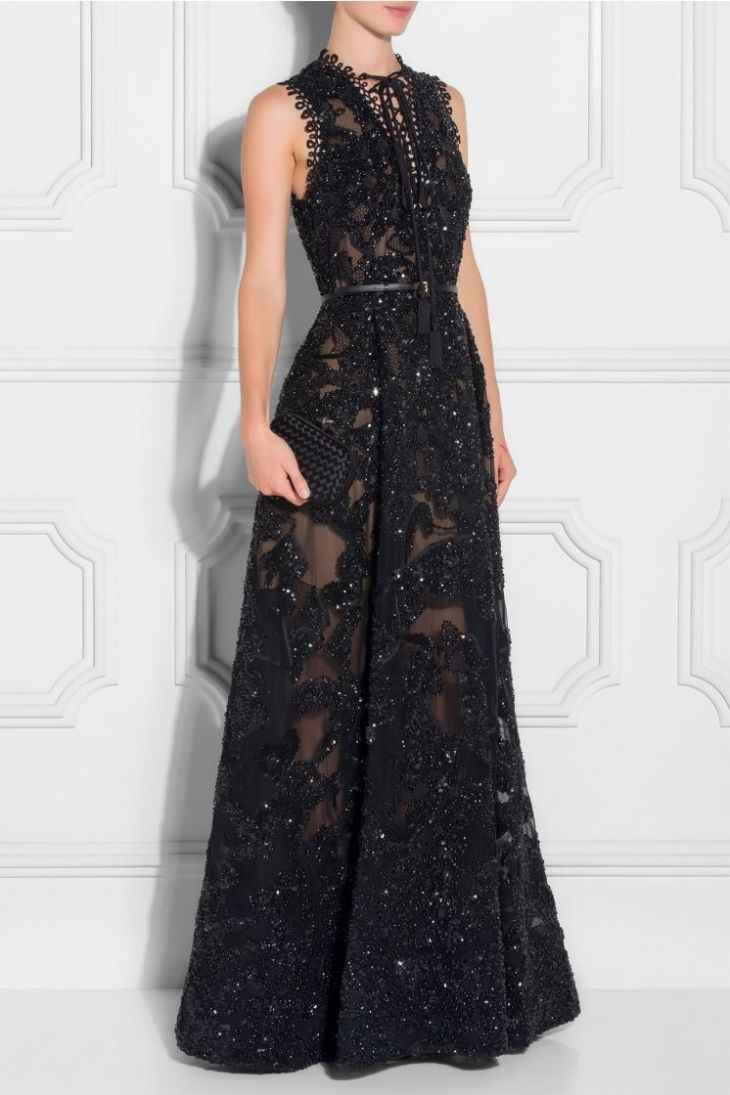 Highneck Embellished Lace Gown Long dresses Pinterest Gowns