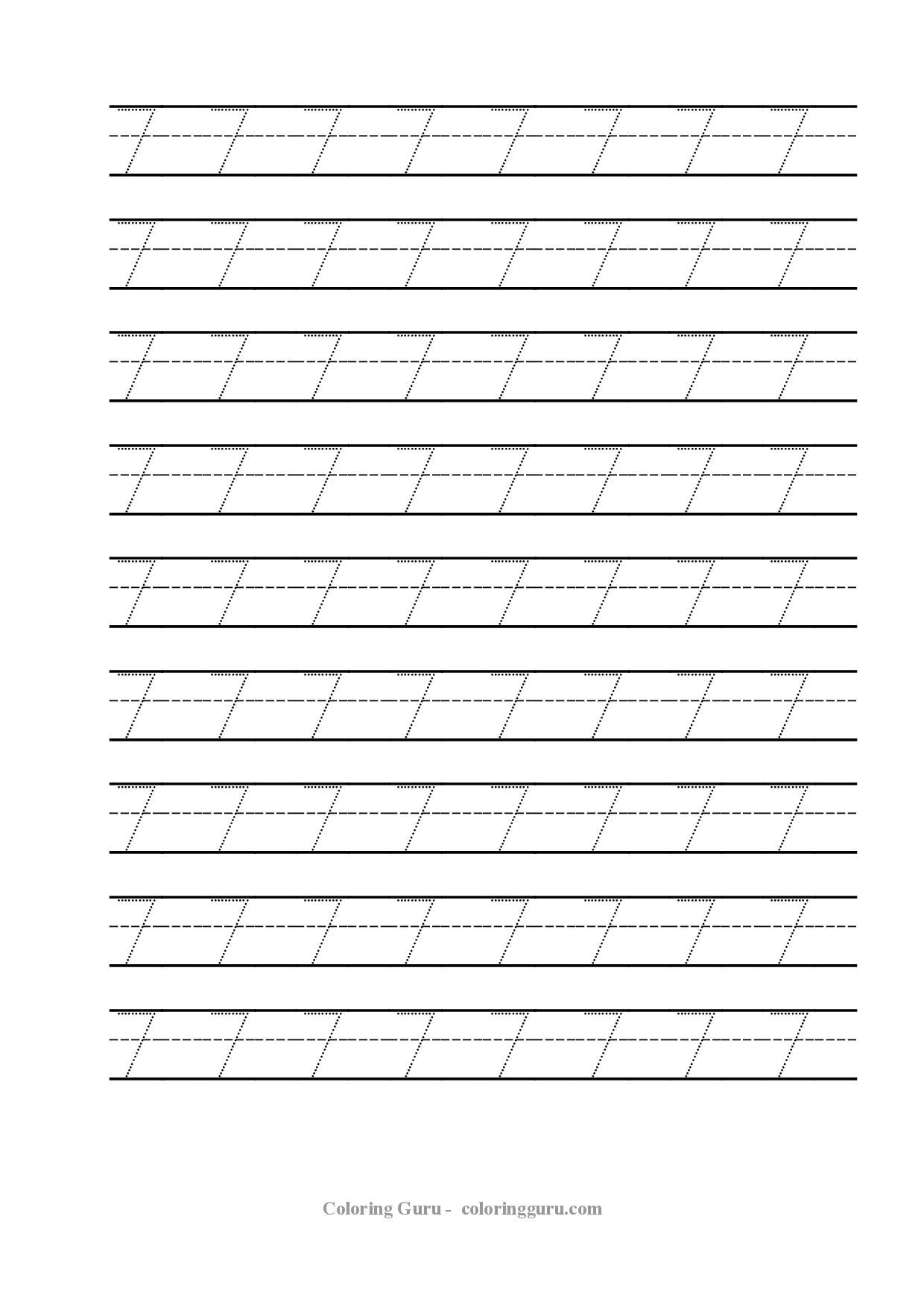 Free Printable Tracing Number 7 Worksheets