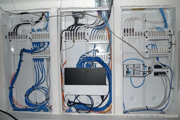 Centrally Located Home Network Wiring Closet. Allows