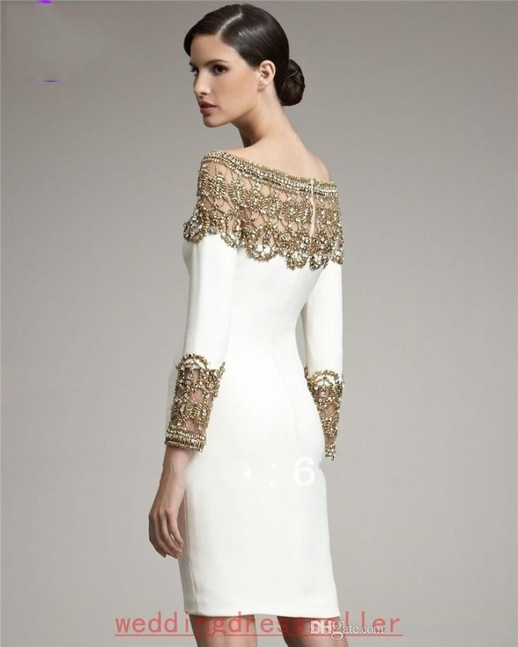 Semi Formal Dresses White And Gold Long Sleeves Homecoming Dresses