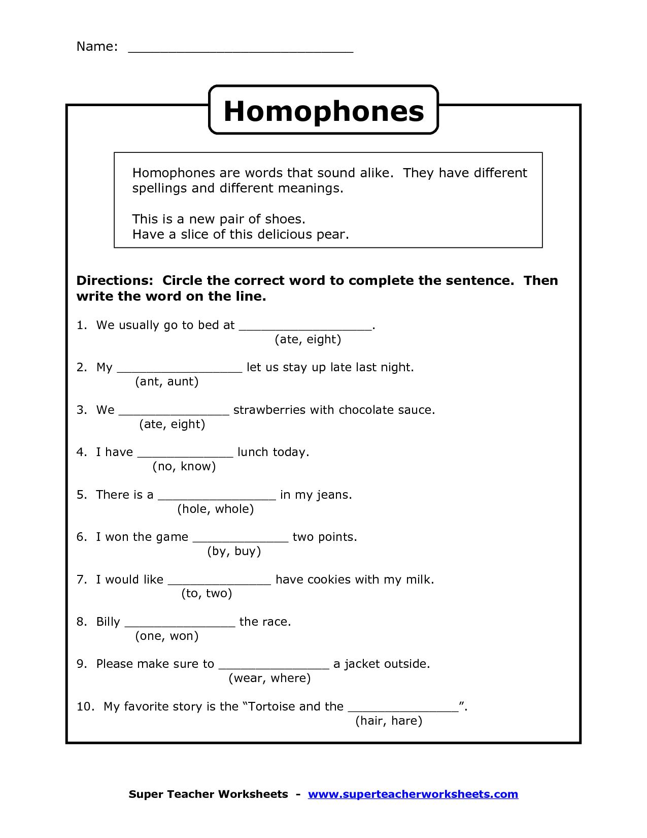 Homophones Worksheet Homophone Worksheet