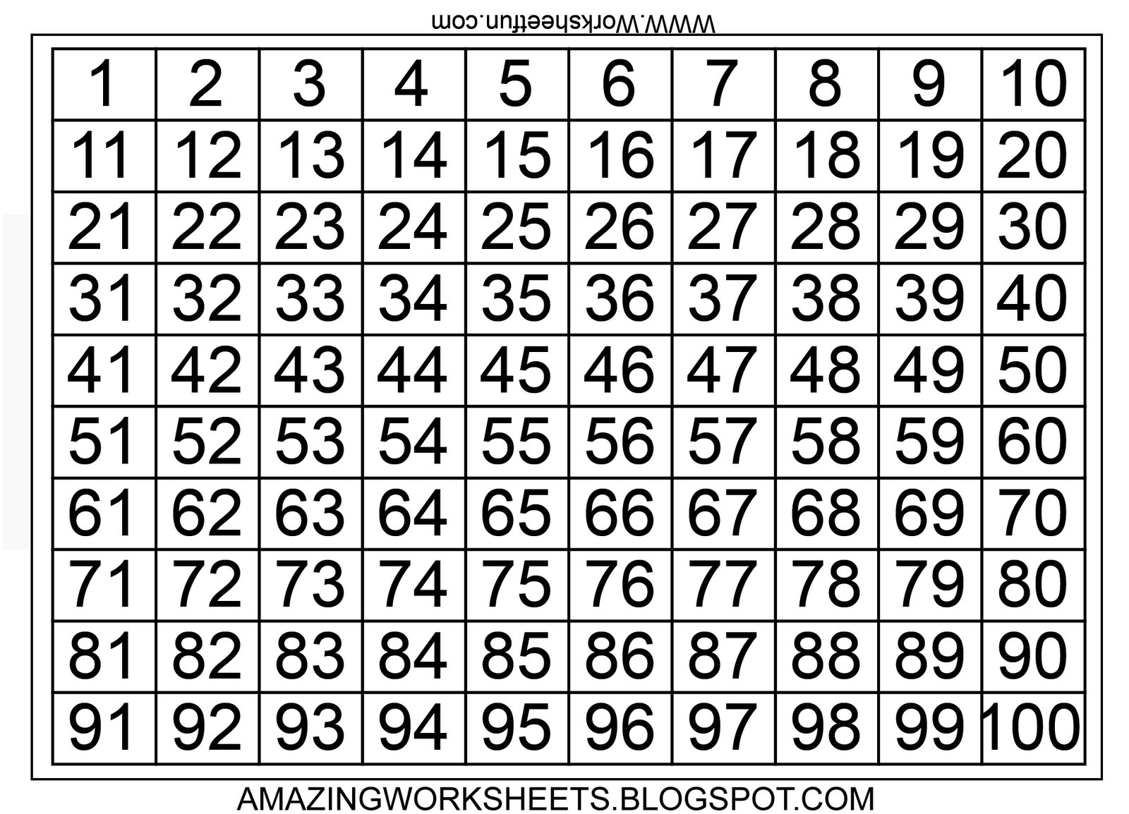 Number Chart 1 To 100 Squares
