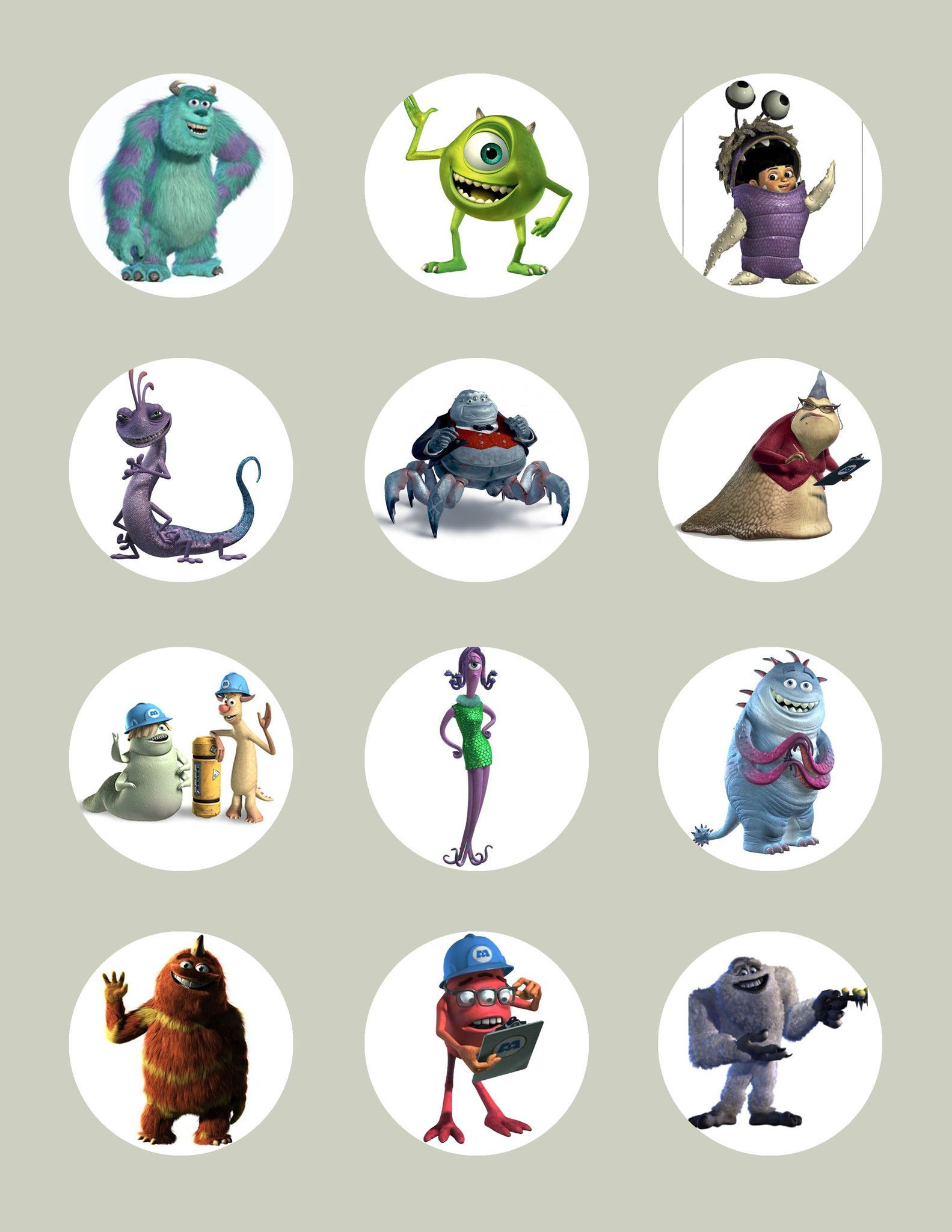 Monsters Inc Character Inspired Edible Icing Cupcake Or Cookie Decor Toppers
