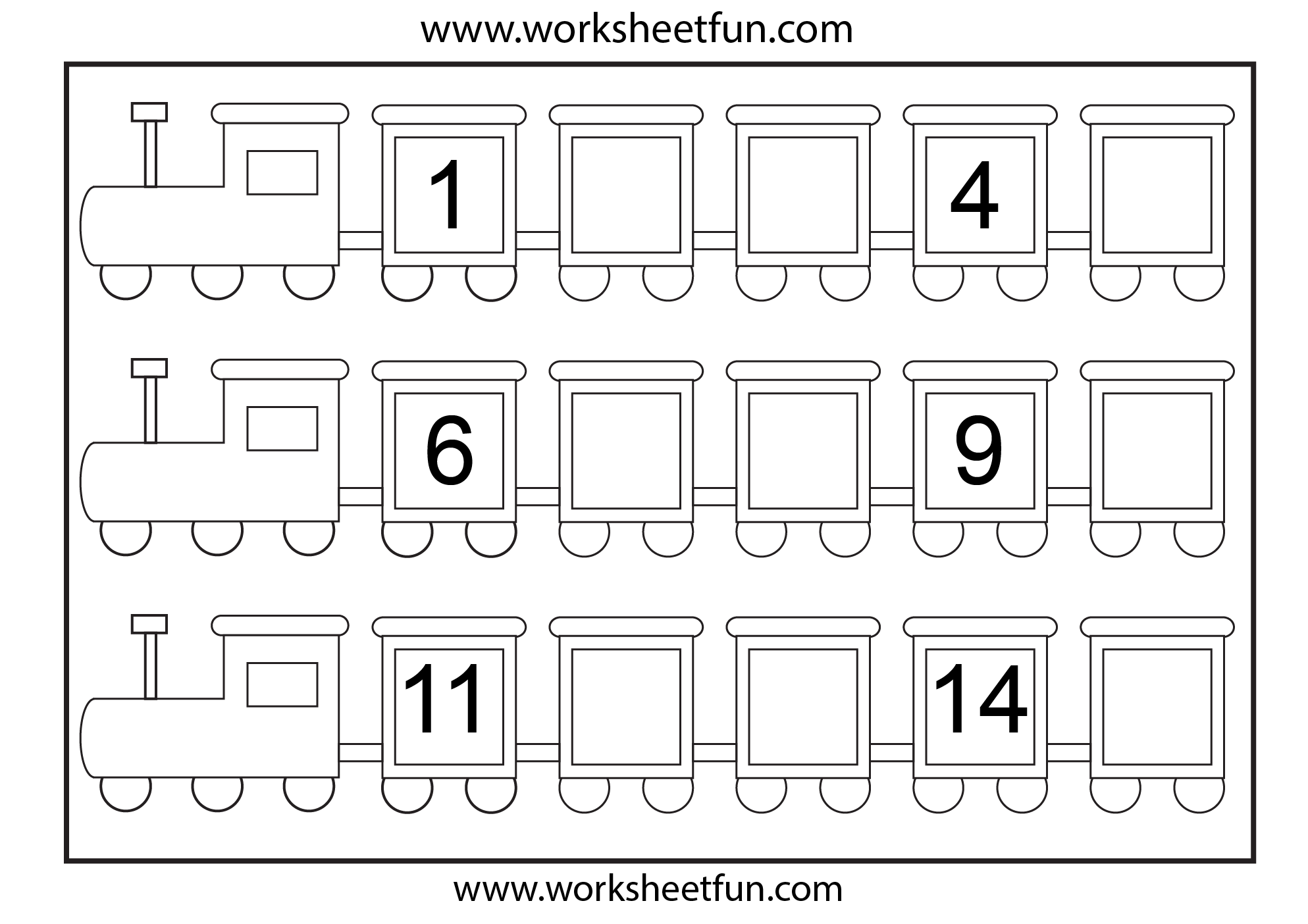 Preschool Missing Number Worksheets