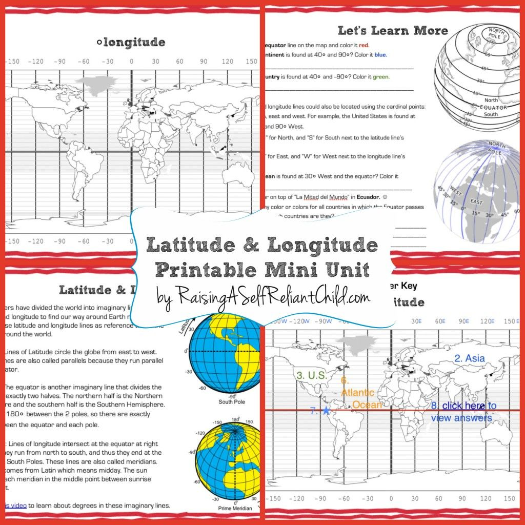 Get This Free Printable Mini Unit On Latitude And Longitude For Kids Ages 8 10 Inspired By Our