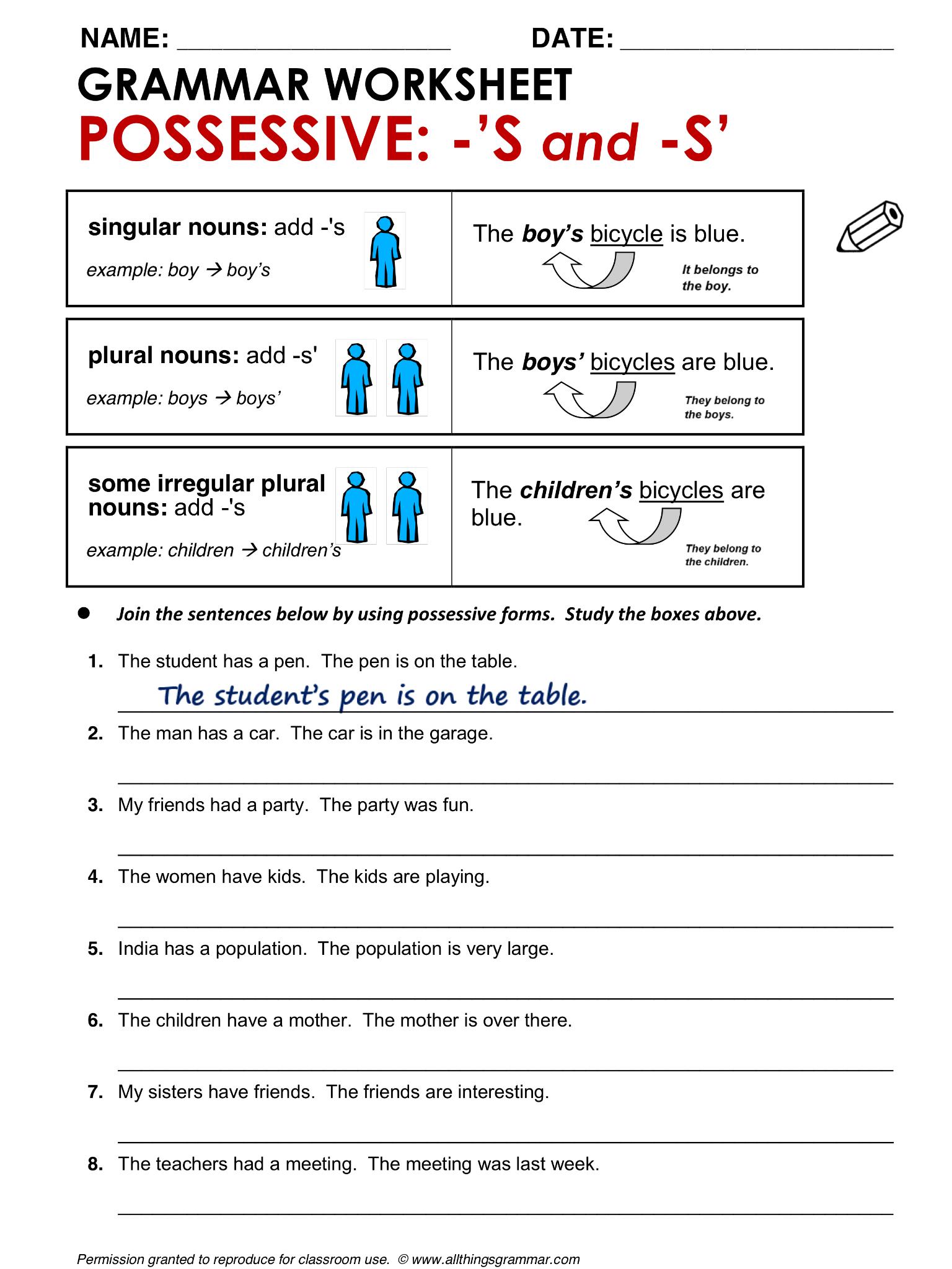 English Grammar Possessive S And S
