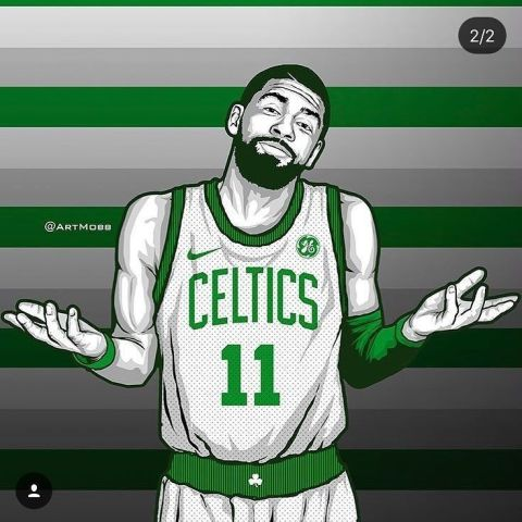 Kyrie Irving Boston Celtics Sports Art Print Basketball Shooting Wallpaper X