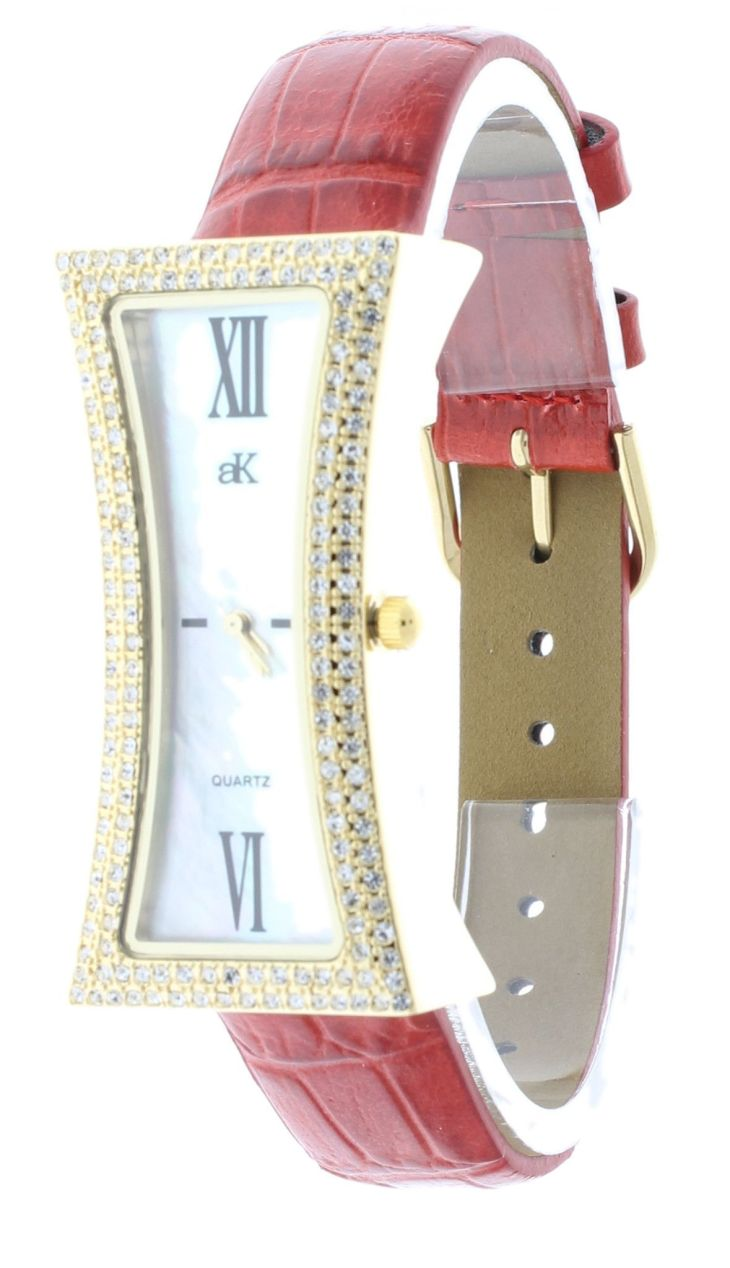Adee Kaye AKLG Womenus Curvaceous Brass GoldPlated Watch Red