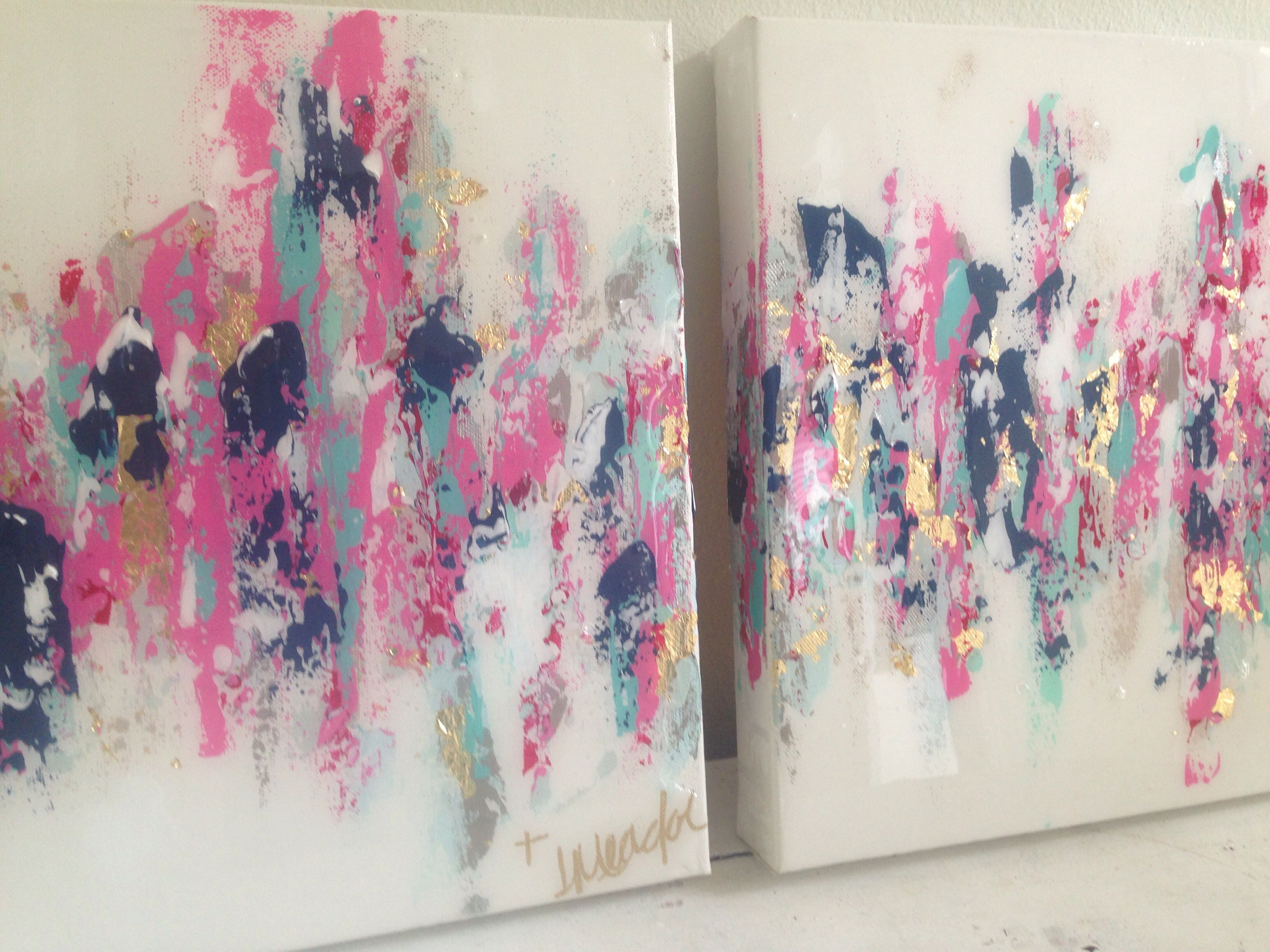 """Abstract Art. Hot Pink, Navy, Gold. 10""""x10"""" Set $150. By"""