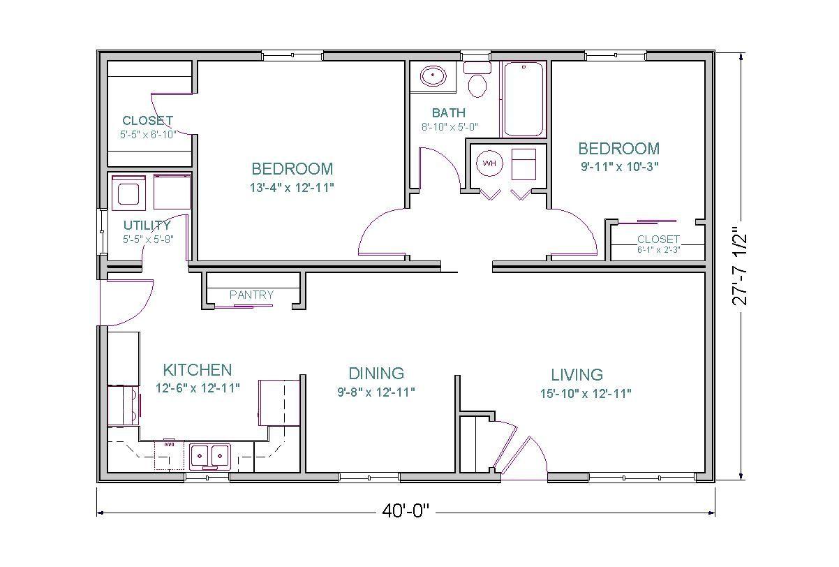 Sq Ft House Plans Open Floor Plan 2 Bedrooms