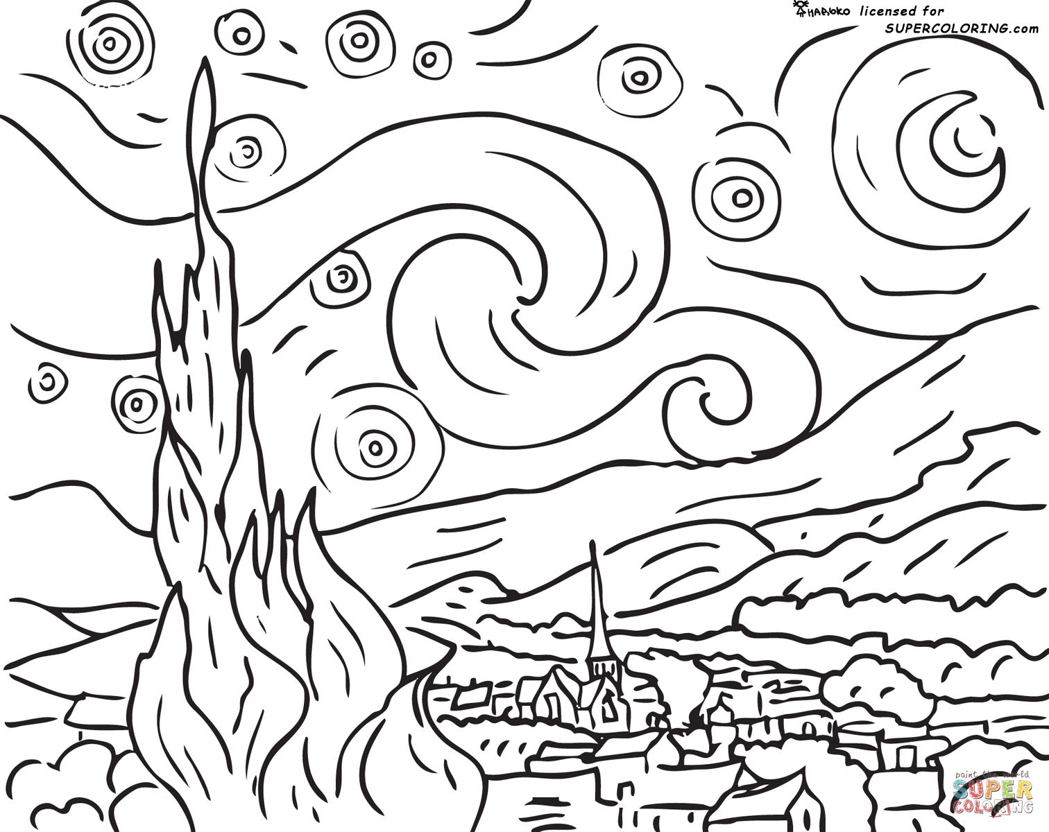 Starry Night By Vincent Van Gogh Coloring Page