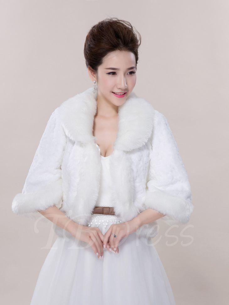 xmas Christmas TbDress  TBDress Half Sleeves Faux Fur Wedding