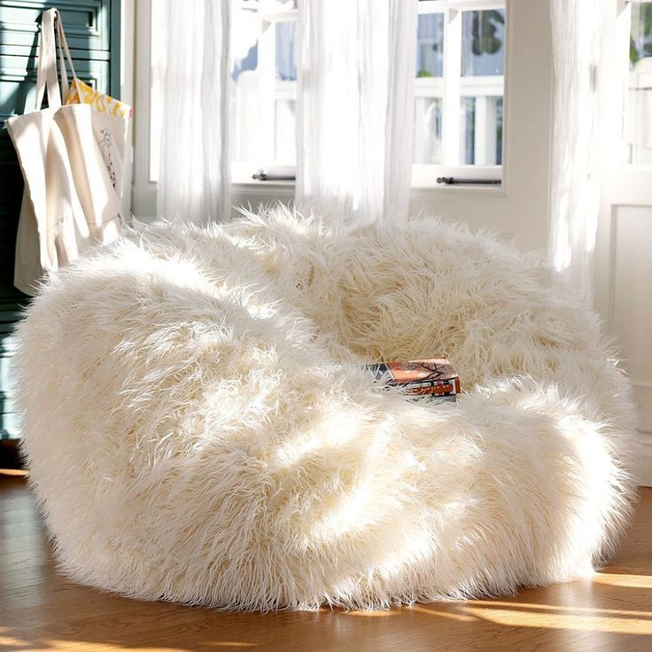 adorable white fur bean bag chair for teen girl : extraordinary