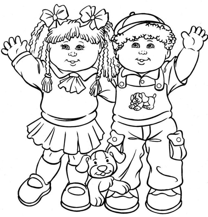 Cabbage Patch Kids Color Page Coloring Pages For Cartoon Characters Printable
