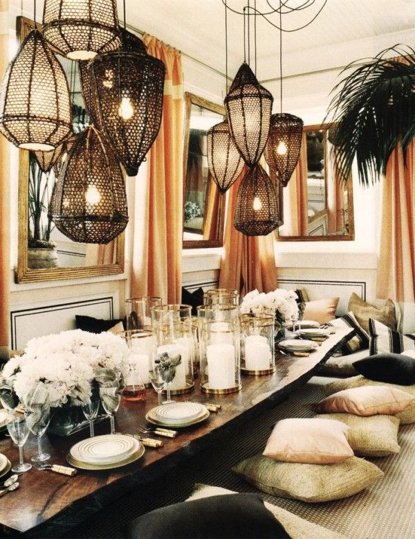 boho chic interior design bohemian dining room table setting clustered lights funky on boho chic kitchen table decor id=70973