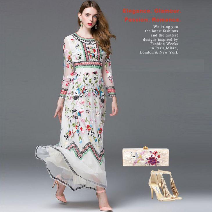 Free Shipping Luxury FalluSpring Ethnic Dress Long Sleeve