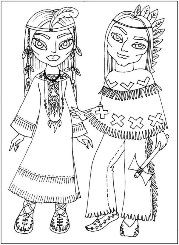 раскраски Национальные костюмы, одежда индейцев, бесплатно ...