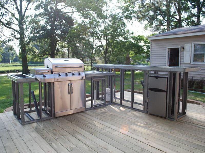 outdoor kitchen plans diy backyard pinterest wood deck designs modular outdoor kitchens on outdoor kitchen plans layout id=47915
