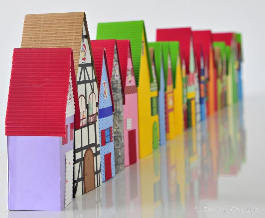 Adventsdorf Adventskalender basteln, Adventskalender und Papier