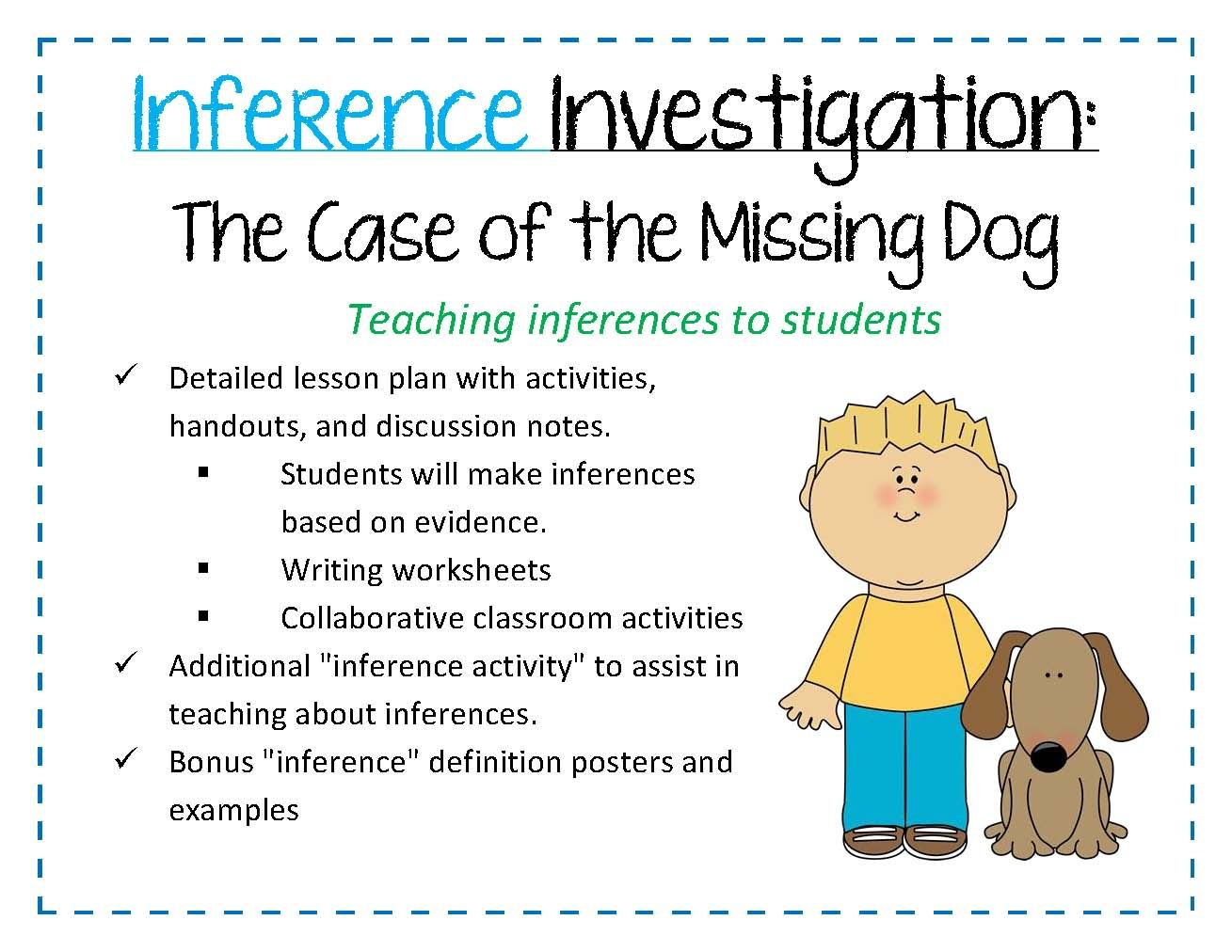 Lesson Plan On Teaching Inferences Inference Investigation The Case Of The Missing Dog